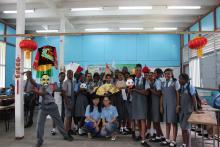 Students with volunteer teachers